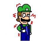 Luigi with a squeegee