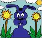 Blue Bunny In The Garden