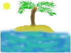Palm tree on lonely island