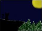 Cat in moon light.