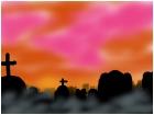 grave yard sunset