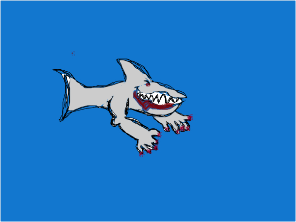 shark with hands