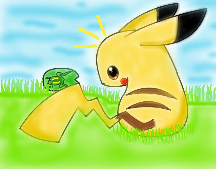 Pikachu see's a frog