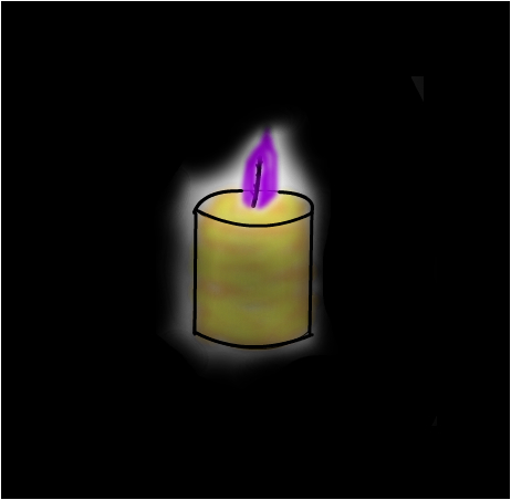 Glowing Candle with purple fire