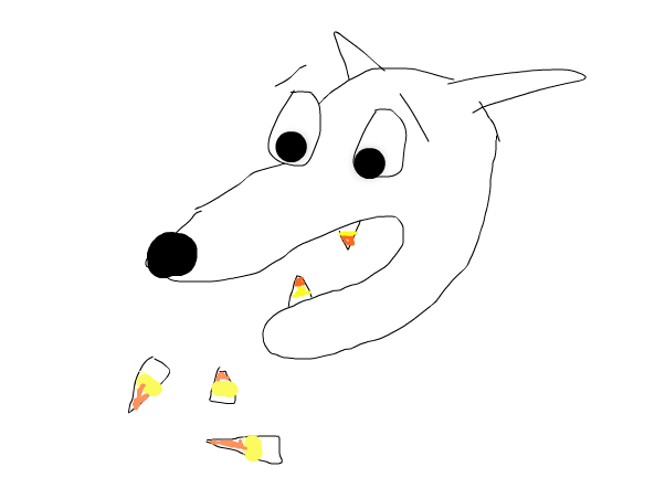 sad wolf's candy corn teeth fall out