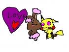 Shiny buneary loves pikachu